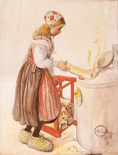 'LillAnna Feeds The Heater', Watercolor by Carl Larsson Sweden) Leksand costume Carl Larsson, Alphonse Mucha, Large Painting, Painting For Kids, Carl Spitzweg, Cicely Mary Barker, Scandinavian Art, Scandinavian Christmas, Arts And Crafts Movement