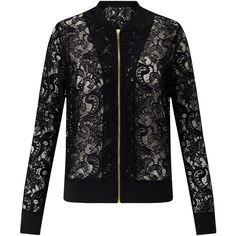 Miss Selfridge Lace Bomber Jacket, Black (220 HRK) ❤ liked on Polyvore featuring outerwear, jackets, lace bomber jacket, collared bomber jacket, bomber style jacket, blouson jacket and flight jacket
