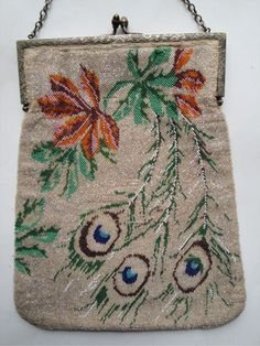 Lovely Antique Glass Beaded Peacock Feathers Purse   eBay