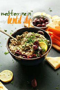 Mediterranean LENTIL DIP with shallot, garlic, hummus, lemon and tahini! So flavorful, healthy and filling! #vegan #appetizer #snack #dip #glutenfree #healthy #recipe