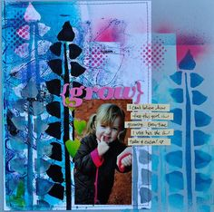 scrapbook page with mixed media background. Paper scrapbooking.