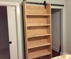 30 ideas sliding closet shelves barn doors for 2019 Sliding Door Bookcase, Bookshelf Door, Diy Sliding Door, Sliding Shelves, Sliding Closet Doors, Wardrobe Doors, Bookshelves, Barn Door Closet, Diy Barn Door