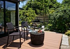 壁から流れ落ちる水は3段階の高さを経て流れるようにデザイン Japanese Garden Style, Garden Styles, Patio, Outdoor Decor, Home Decor, Decoration Home, Room Decor, Home Interior Design, Home Decoration