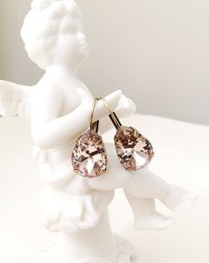 Classic Light Topaz Large Tear Drop Crystal Earrings – Cupids Charm