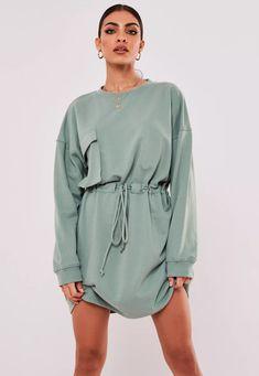 Sporty Outfits, Chic Outfits, Mint Tie, Comfy Dresses, Lounge Dresses, Shirtwaist Dress, Babe, Sweatshirt Dress, Lounge Wear