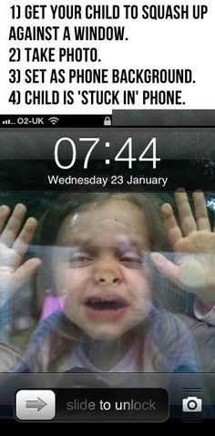Child is stuck in phone… this is hilarious!