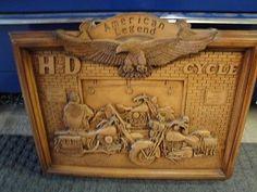 HARLEY DAVIDSON MOTORCYCLE WOOD CARVING WALL ART
