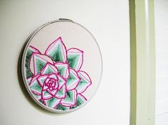 Geometric Succulent Plant - Embroidery Hoop Wall Art in Fuchsia Pink and Emerald Green
