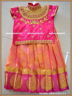Kids pattu Pavada designs by Angalakruthi boutique Bangalore Kids pavada with Rich hand embroidery designs by Angalakruthi Pattu langa desings by Angalakruthi