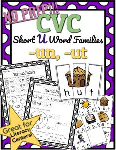 CVC *No Prep* - Short U Families -un, -ut This set includes CVC puzzles that your students can cut out and match to help them build understanding of initial, medial, and final sounds. Phonics Lessons, Short Vowels, Family Set, Cvc Words, Word Families, Word Work, Language Arts, Spelling, Curriculum