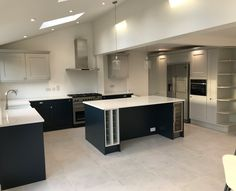 Light, bright, Kitchen Diner with Vaulted ceiling and VELUX windows, and central kitchen island. Kitchen Interior, Kitchen Extension With Vaulted Ceiling, Open Plan Kitchen Dining, Velux Windows Kitchen, Velux Windows, Kitchen, Kitchen Diner, Kitchen Ceiling Lights, Kitchen Style