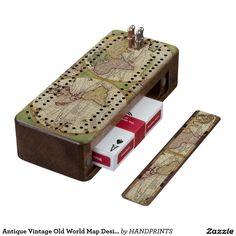 Antique Vintage Old World Map Design Wood Cribbage Board