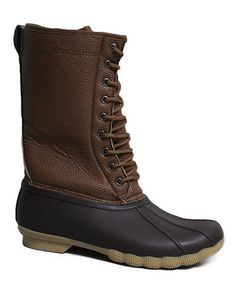 Look what I found on #zulily! Camel & Black Pebbled Duck Boot #zulilyfinds