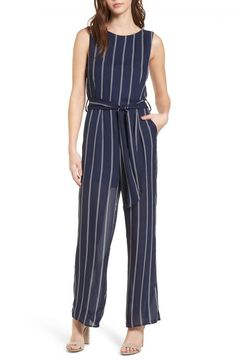 Main Image - One Clothing Stripe Jumpsuit Indian Fashion Dresses, Girls Fashion Clothes, Teen Fashion Outfits, Girl Fashion, Clothes For Women, Striped Jumpsuit, Jumpsuit Dress, Bandeau Jumpsuit, Navy Jumpsuit