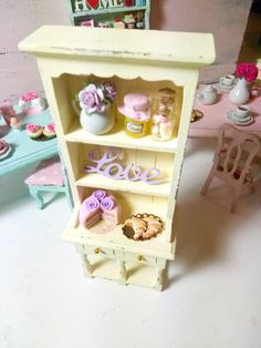 Shabby chic cream and lilac romantic Paris cabinet,eiffel tower,croissant,roses,ceramic,cake,chocolate,coffee-miniature dollhouse12th scale by ManthaCreaMiniatures on Etsy