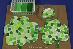 Paint Chip Shamrocks-going to do this with my guy. Great way to practice fine motor skills