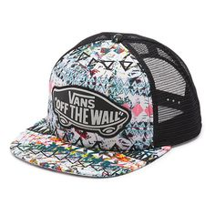 Vans Beach Girl Trucker Hat (26 CAD) ❤ liked on Polyvore featuring accessories, hats, snapbacks, white sand, truck caps, white hat, trucker hat, beach trucker hat and logo hats