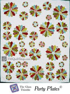 """Christmas fabric and Dresden plates galore adorn The Glass Thimble's large project for 2013! 62"""" x 72"""" quilt. MyQuiltSpree.com"""