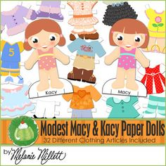Modest MACY & kACY Paper Dolls  by GreenJelloWithCarrot on Etsy