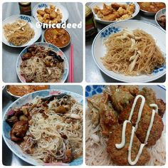 Cooked dinner tonight. I cooked fried beehoon with mushrooms for my girl and myself. My hubby cooked beehoon in canned braised pork trotter and heated canned curry chicken. We also air-fried popcorn chicken, vegetarian nuggets and vegetarian five-spice roll.
