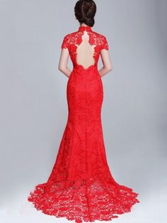 Back view of a Chinese wedding dress. While says you must be traditional. Also would make nice dress for a part or bridesmaids.