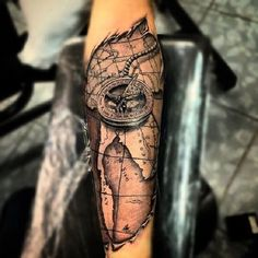 Where ya will go A compass is a navigational instrument to determine the direction of magnetic north, which is important for the mariners of early age to find their way of navigation. Compass tattoo, or its derived compass rose tattoo… Continue Reading → Miami Ink Tattoos, Map Tattoos, Forearm Tattoos, Rose Tattoos, Body Art Tattoos, Sleeve Tattoos, Eagle Tattoos, Tatoos, Compass And Map Tattoo