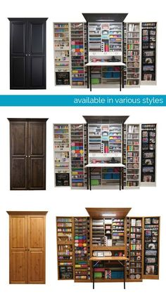 My craft dream Craft Storage Cabinets, Craft Cabinet, Craft Room Storage, Sewing Room Design, Craft Room Design, Sewing Rooms, Space Crafts, Home Crafts, Sewing Room Organization