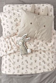 It's time to hop on an organic Bunny Bedding set like no other. The light pink duvet cover and sheet set are adorned with printed rabbits for a playful touch. Add the unique bunny face sham and round out the look. Pink Bedding Set, Girls Bedding Sets, Bedding Shop, Baby Bedding, Dorm Bedding, Cotton Bedding, Baby Crib, Nursery Bedding, Bed Sets