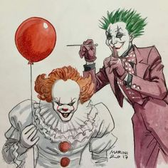 """Funny until """"It"""" gets his hands on the Joker! Then we'll see if The Joker Floats! Es Pennywise, Pennywise The Dancing Clown, Funny Horror, Horror Art, Scary Movies, Horror Movies, Joker Kunst, Joker Y Harley Quinn, Saint Yves"""