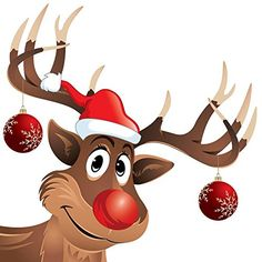 Wallmonkeys WM219534 Christmas Decals - Rudolph the Reindeer Red Nose with Hat and Christmas Balls Peel and Stick Wall Decals (12 in…