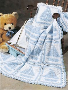 ❤❤❤ SAILBOAT AFGHAN ❤❤❤ Darling pattern comes with pillow - Intermediate ~ Crochet Baby Blanket / Afghan