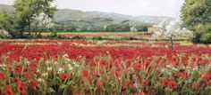 Prelude to Summer, large oil painting by Colorado Artist Brenda Hendrix. Red poppy fields of Provence.