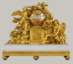 Mantel clock, ca. 1780–90  French (Paris)   Gilt bronze, enamel, and marble