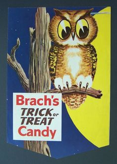 Vintage Halloween Ephemera ~ Brach's Halloween Candy Display Poster * Circa, 1960's