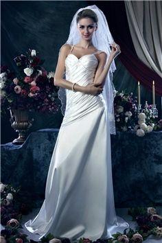 ファンシーシース/コラムスパゲッティストラップチャベルトレインウエディングドレス
