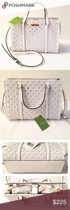 "35% OFF! Kate Spade Mini Romy White Satchel Purse Reasonable offers welcome. Same or next day shipping. Brand new with tags, retails at $328. Gorgeous, chic satchel from Kate Spade in crisp white. •7.2""h x 9.4""w x 4.3""d •drop length: 3.14"" handheld •total starp length: 46.5"" •crosshatched perforated leather with matching trim •capital kate jacquard lining •top handle with magnetic tab closure •adjustable and removable strap •double slide pockets and interior zipper pocket •gold staple kate…"