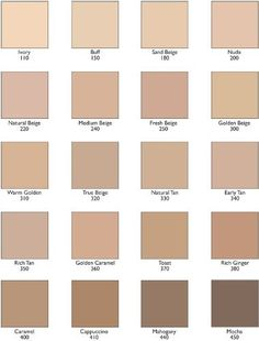 Revlon Color stay Foundation Color chart I think I am between sand beige and natural beige. Revlon Colorstay Foundation Shades, Foundation Colors, No Foundation Makeup, Flawless Foundation, Powder Foundation, Makeup Swatches, Makeup Dupes, Flawless Makeup, Makeup Products