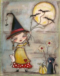 ♥ Original Folk Art Whimsical Halloween Painting ~~ Walking the Bats  ©dianeduda/dudadaze