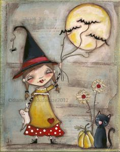 Print Of My Folk Art Childrens Halloween Witch Painting - Walking The Bats - 8 X…