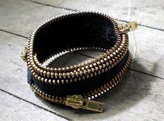 recycled zipper bracelet