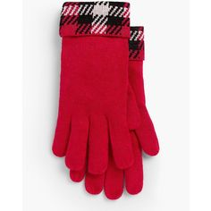 Talbots Women's Forest Check Gloves ($30) ❤ liked on Polyvore featuring accessories, gloves, classic red multi, talbots and red gloves