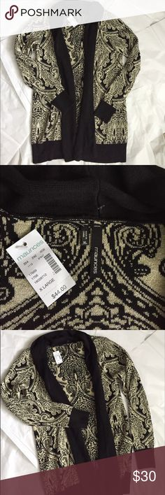 Maurices Long sweater! NWT! Maurice's long open cardigan! New with tags! Great to wear with leggings or skinny jeans! Black with a gold design! Size XL. 32 inches long. Bust measuring across the front 23 inches! Maurices Sweaters Cardigans
