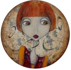 tableau, toile sur châssis, peinture sur toile format rond : Peintures par l-atelier-de-mandarine sur A little market