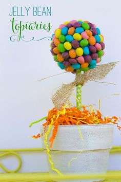 SUPER cute and Easy Jelly Bean Topiaries { lilluna.com } #easter