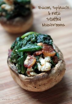 bacon spinach and feta stuffed mushrooms