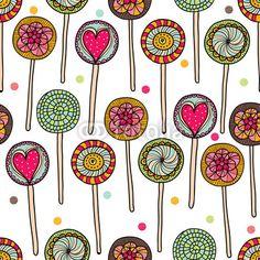 Cute seamless pattern with lollipops.