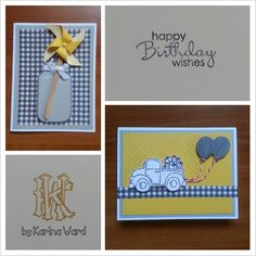 Birthday cards I made.  Mason jar stamp by Lawn Fawn.  Pick up truck stamp by Stampin' Up.  Balloon punch by Martha Stewart.