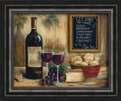 The classy Les Vins Framed Art Print is perfect for wine lovers. Featuring a wine list and an open bottle, this print celebrates all the good things about wine. Framed Wall Art, Framed Art Prints, Fine Art Prints, Pinot Noir, Bordeaux, Wine Painting, Still Life Oil Painting, In Vino Veritas, Sale Poster