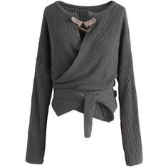 Chicwish Knit Your Zeal Wrapped Top in Grey (2,880 INR) ❤ liked on Polyvore featuring tops, sweaters, grey, grey wrap top, gray top, grey knit top, knit top and drop shoulder tops