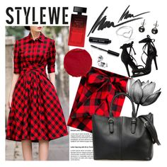 """STYLEWE 3"" by gaby-mil ❤ liked on Polyvore featuring Schutz, Elizabeth Arden, Temptu, Max Factor, Bobbi Brown Cosmetics, Black, Jordan Askill, vintage, Leather and dress"